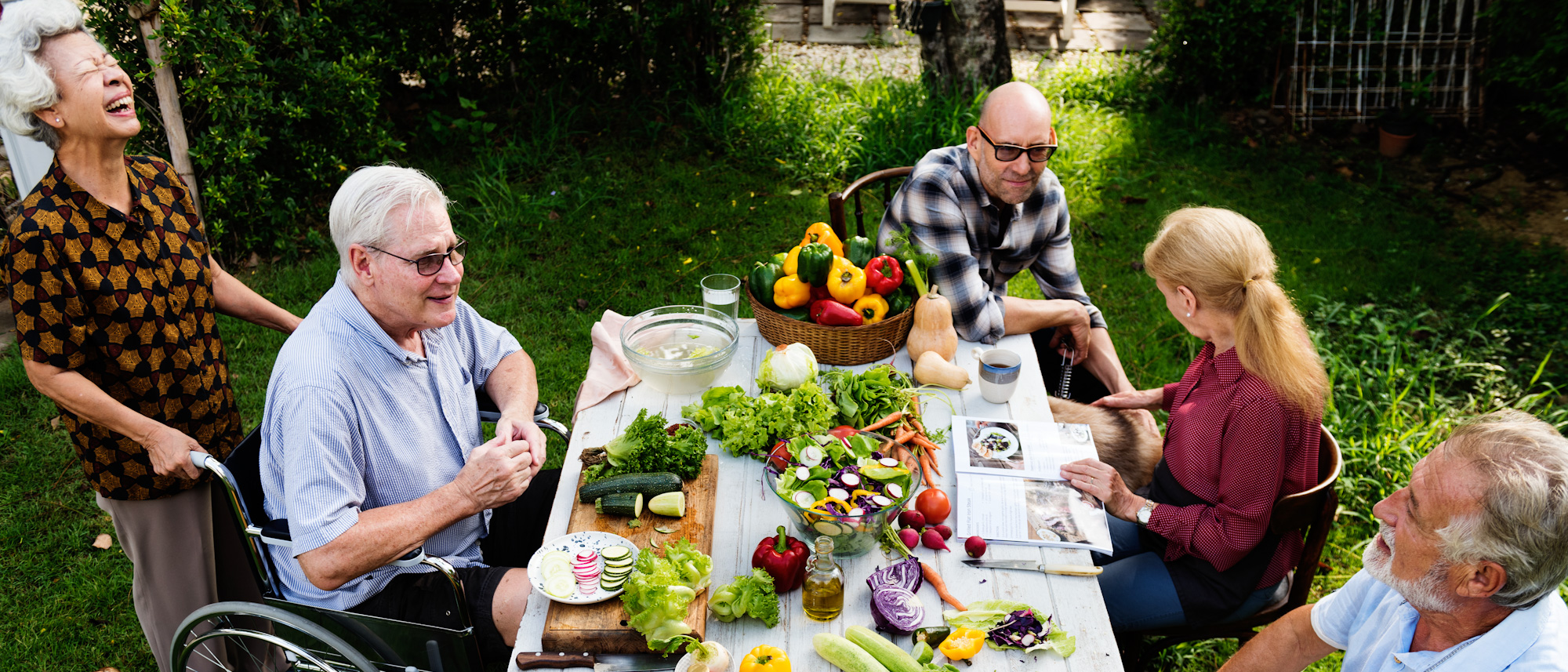 Elderly's party outside with healthy food