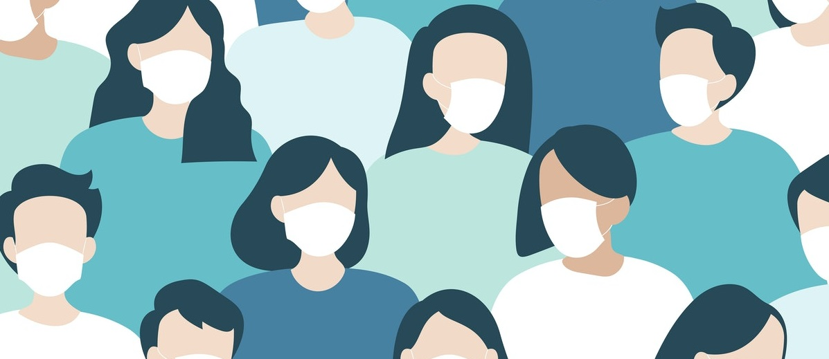 Illustration of people wearing masks